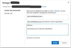 Message d'invitation à rejoindre le site SharePoint partagé