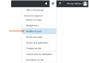 Modifier une page Sharepoint